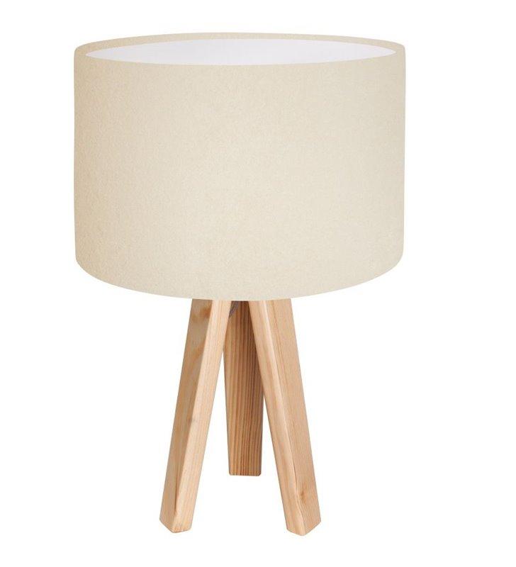 Kremowa lampka stołowa na 3 nogach Verbena Biała wnętrze abażura białe