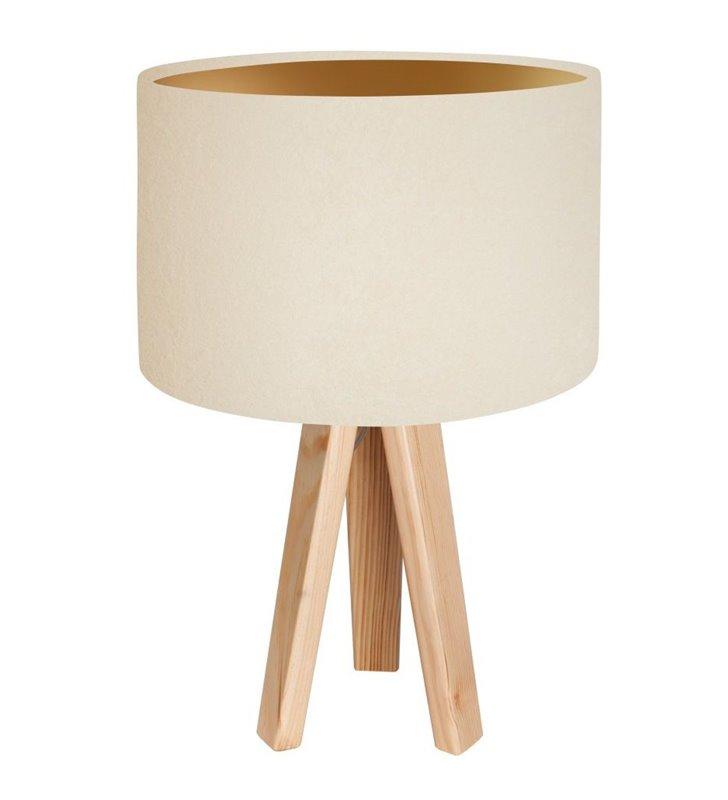 Lampka stołowa Verbena Złota kremowy abażur z weluru ze złotym wnętrzem trójnóg