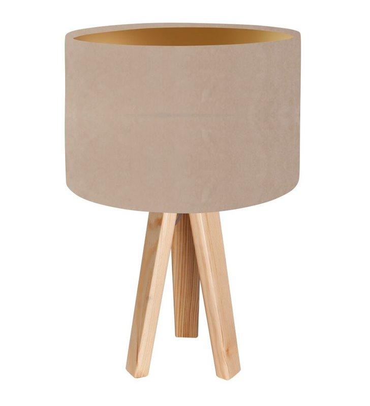 Lampa stołowa na 3 nogach z drewna Nigella Złota beżowo złoty abażur z weluru