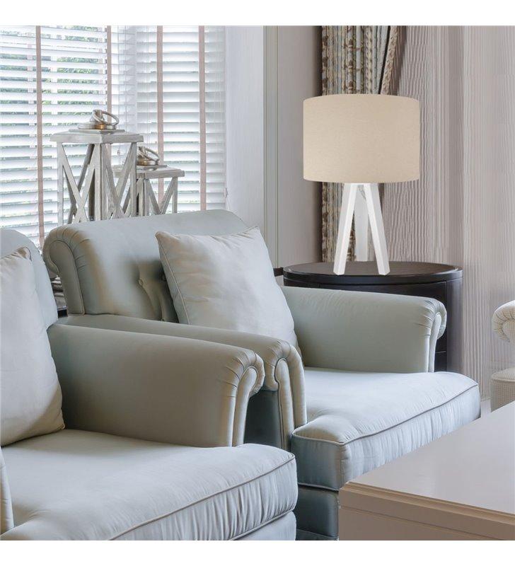 Lampa stołowa Verbena Biała kremowa wnętrze abażura białe tkanina welur biała podstawa 3 nogi