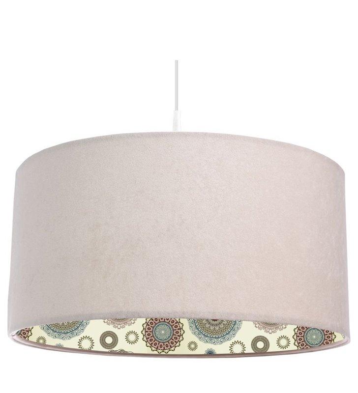 Lampa wisząca Estella kremowa z weluru wewnątrz abażura kolorowy nadruk do salonu jadalni nad stół do sypialni