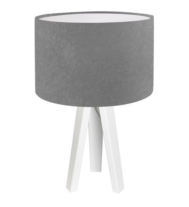 Lampa stołowa Kamelia Biała szara z białą podstawą abażur materiałowy welur