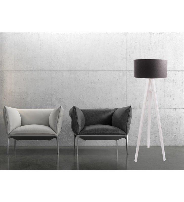 Lampa podłogowa Kamelia Biała szaro biała abażur materiałowy welur