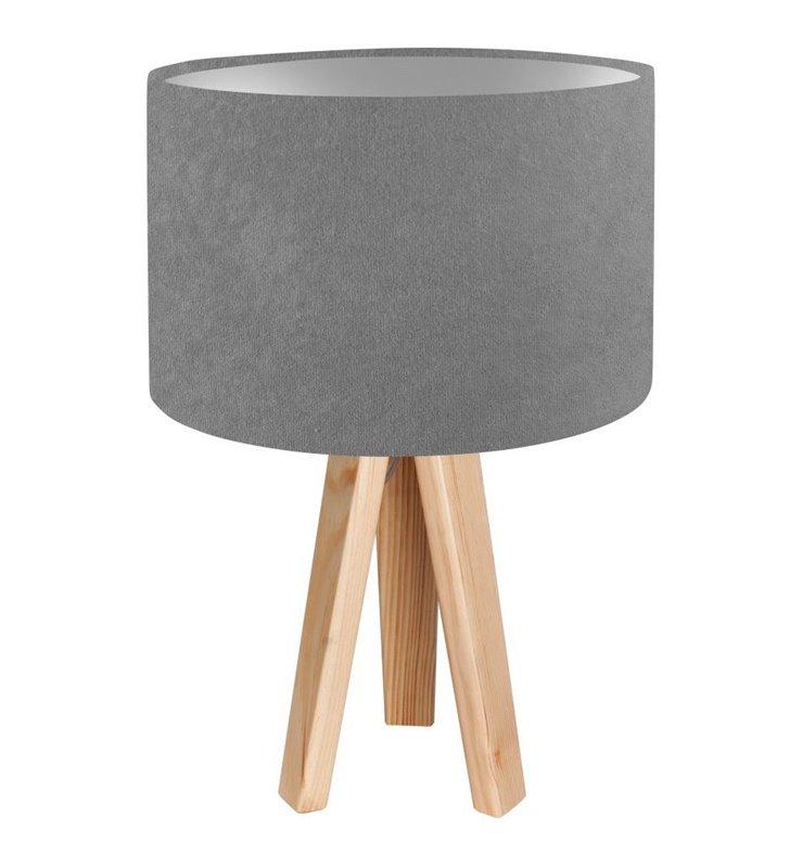 Lampa stołowa Kamelia Srebrna szary abażur ze srebrnym środkiem drewniany trójnóg - OD RĘKI