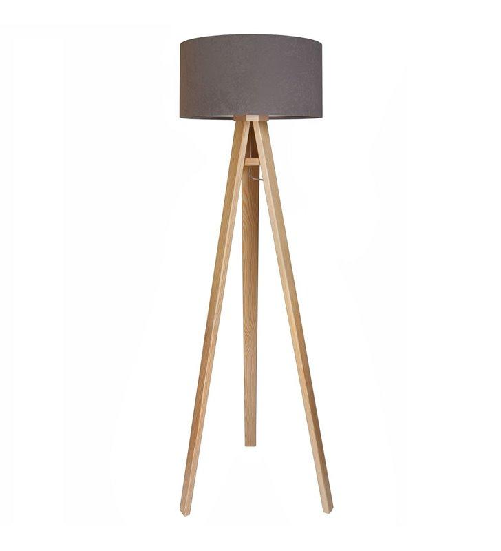 Lampa podłogowa Kamelia Srebrna abażur szary wewnątrz srebrny podstawa drewniana sosnowa 3 nogi