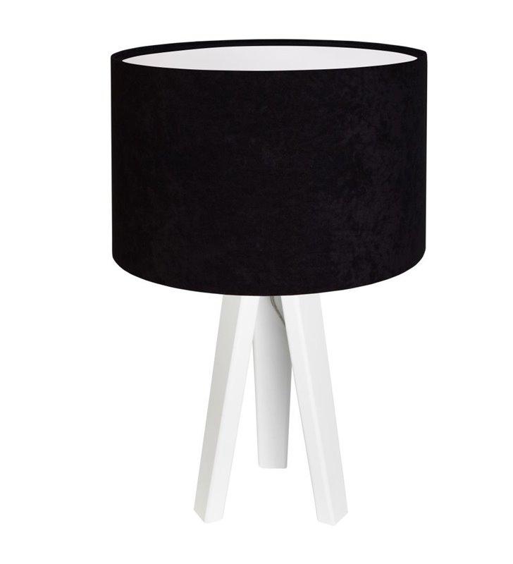 Gloria Biała nowoczesna lampa stołowa na 3 białych drewnianych nogach czarny welurowy abażur
