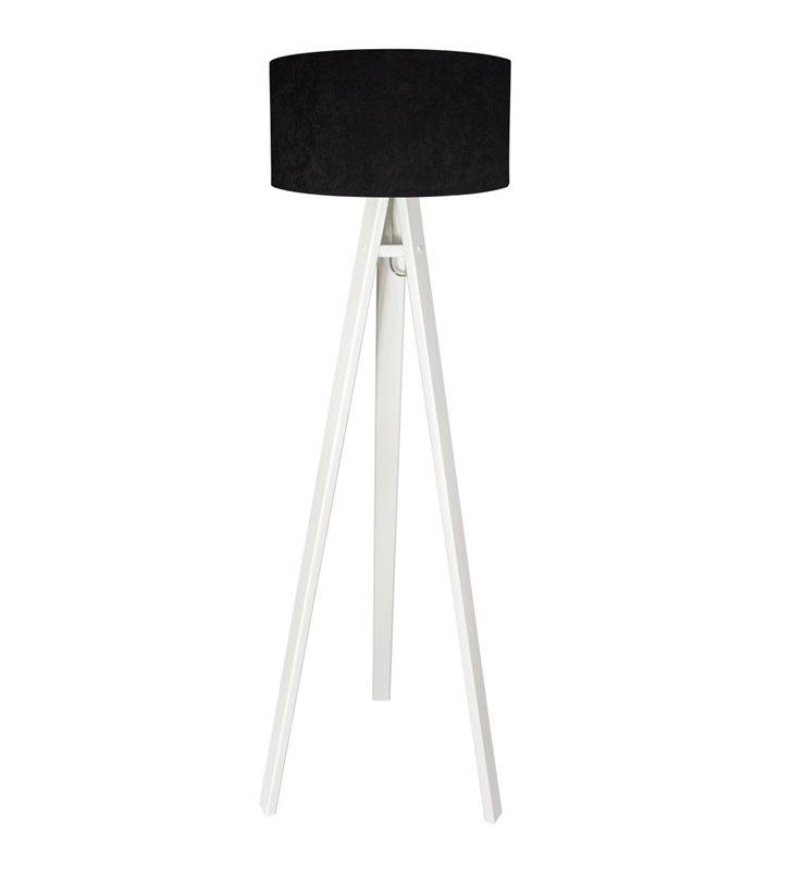 Lampa podłogowa Gloria Biała abażur welurowy czarny białe drewniana nogi