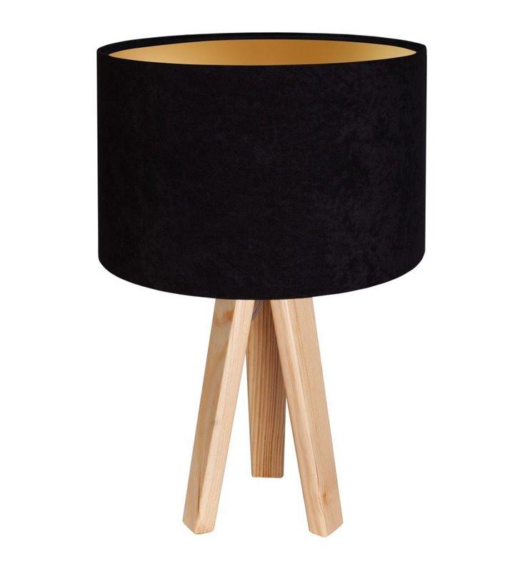 Lampa stołowa na 3 nogach z drewna czarny welurowy abażur ze złotym wnętrzem Gloria Złota
