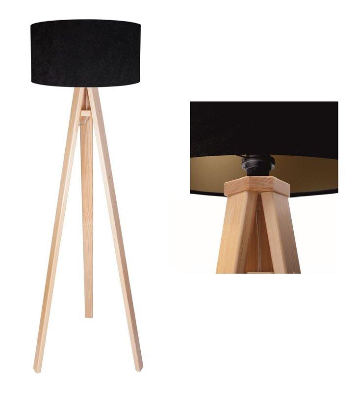 Lampa podłogowa Gloria Złota abażur czarno złoty z weluru sosnowy trójnóg - DOSTĘPNA OD RĘKI