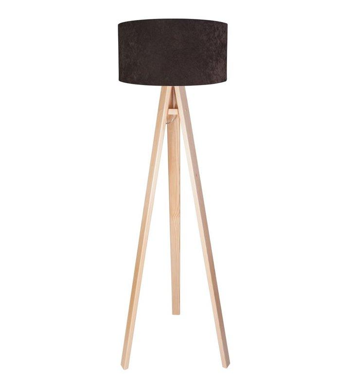 Brązowa welurowa lampa podłogowa Dalia Biała