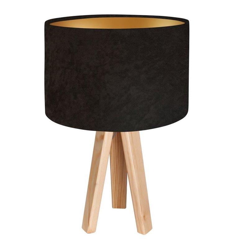 Lampa stołowa Dalia Złota brązowa wnętrze klosza złote 3 sosnowe nogi do salonu sypialni na komodę stolik nocny