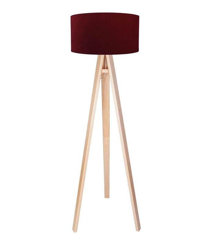 Lampa podłogowa Euphoria Biała bordowy welurowy abażur drewniana podstawa