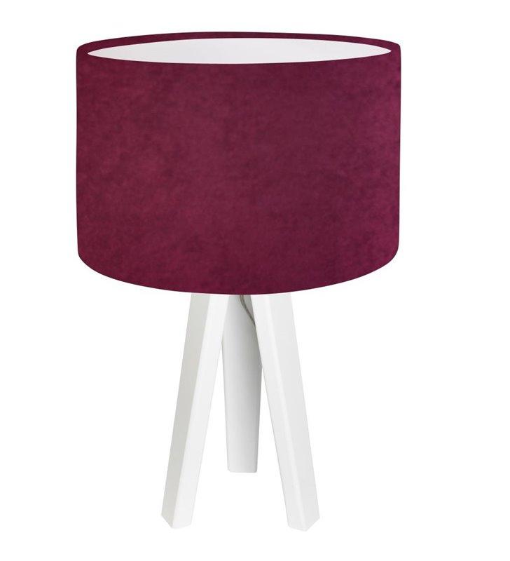 Fioletowa lampa stołowa z białą podstawą z drewna Fuksja Biała