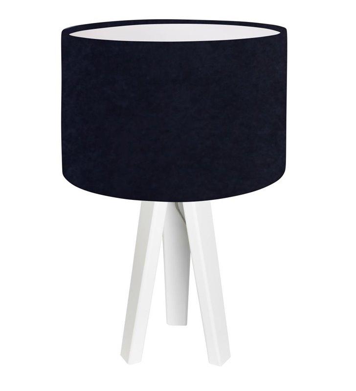Granatowo biała lampa stołowa Lobelia Biała 3 nogi drewno abażur welur