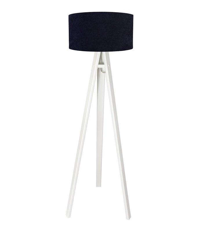 Biało granatowa lampa stojąca podłogowa Lobelia Biała do salonu sypialni jadalni abażur z weluru