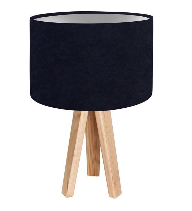 Lampka nocna stołowa Lobelia Srebrna granatowa wnętrze abażura srebrne trójnóg
