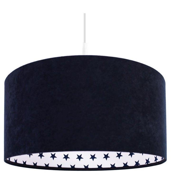 Granatowa welurowa lampa wisząca Dina wnętrze abażura białe w granatowe gwiazdki