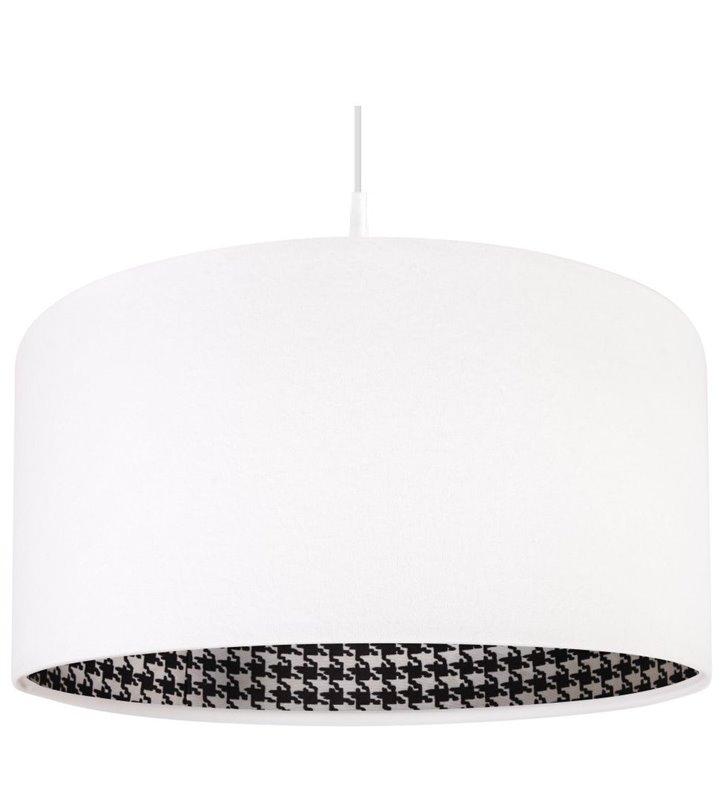Lampa wisząca Pepitka Biała abażur z weluru wewnątrz tkanina w pepitkę do jadalni nad stół salonu sypialni