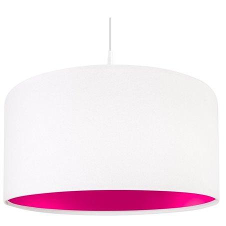 Biało różowa lampa wisząca Lilia Różowa abażur wykonany z tkaniny welurowej