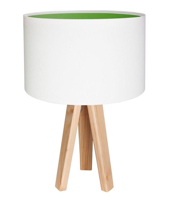 Lampa stołowa Lilia Zielona biały welurowy abażur z zielonym środkiem trójnóg z sosny