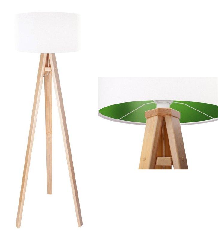 Lampa podłogowa Lilia Zielona biały abażur z zielonym środkiem podstawa z drewna sosna