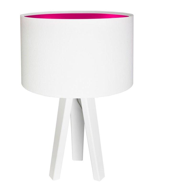 Biała lampa stołowa Lilia Różowa abażur biały welurowy z różowym środkiem do salonu sypialni pokoju dziecka
