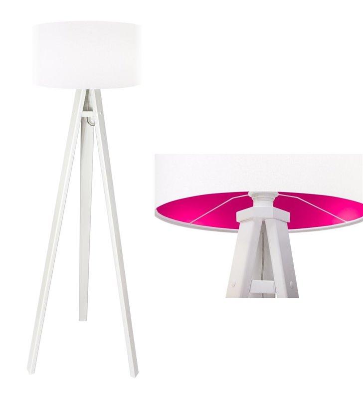 Lilia Różowa biała lampa podłogowa abażur z weluru wewnątrz różowy do sypialni salonu jadalni pokoju dziecka