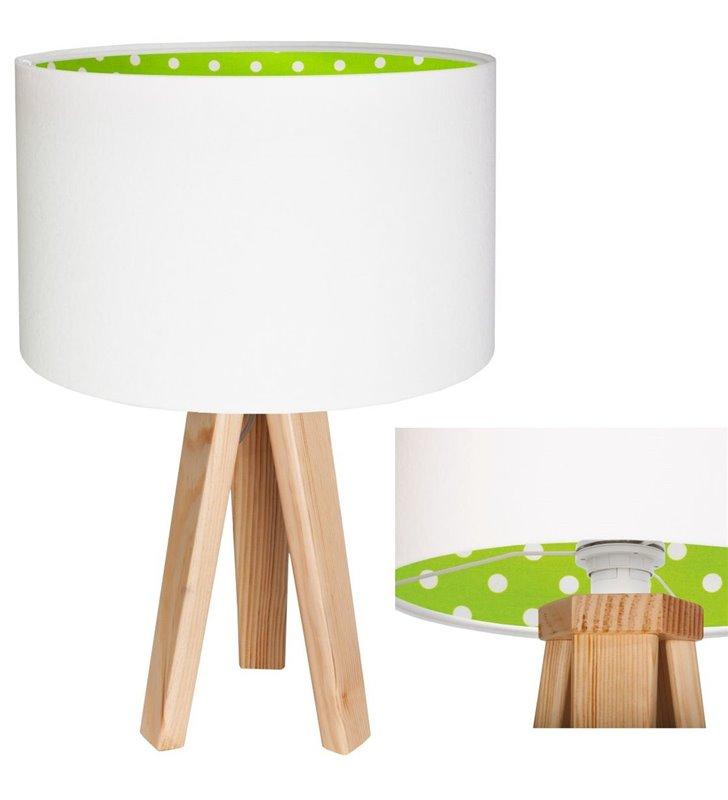 Lampa stołowa Ella biały abażur z weluru od wewnątrz zielony w białe kropki sosnowe 3 nogi