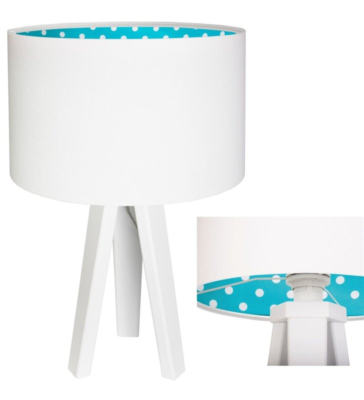 Biała lampka stołowa Sinderella abażur z weluru od wewnątrz niebieski w białe kropki 3 nogi