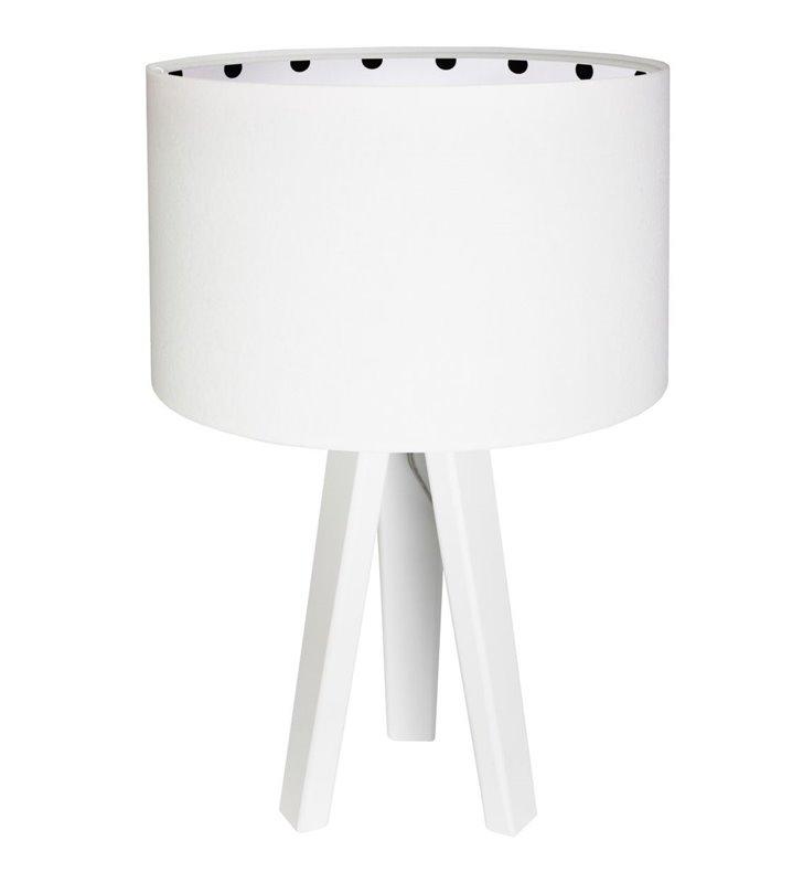 Lampka stołowa Calineczka biała z czarnymi kropkami wewnątrz welurowego abażura idealna np. do pokoju dziecka