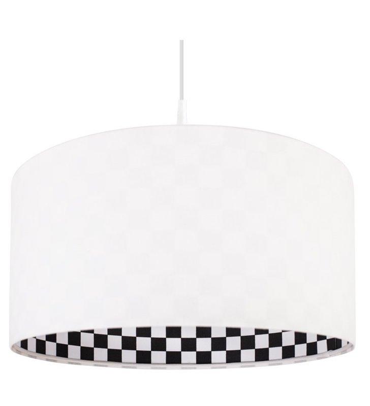 Lampa wisząca Alisa biała welurowa od wewnątrz klosza czarno biała szachownica - OD RĘKI