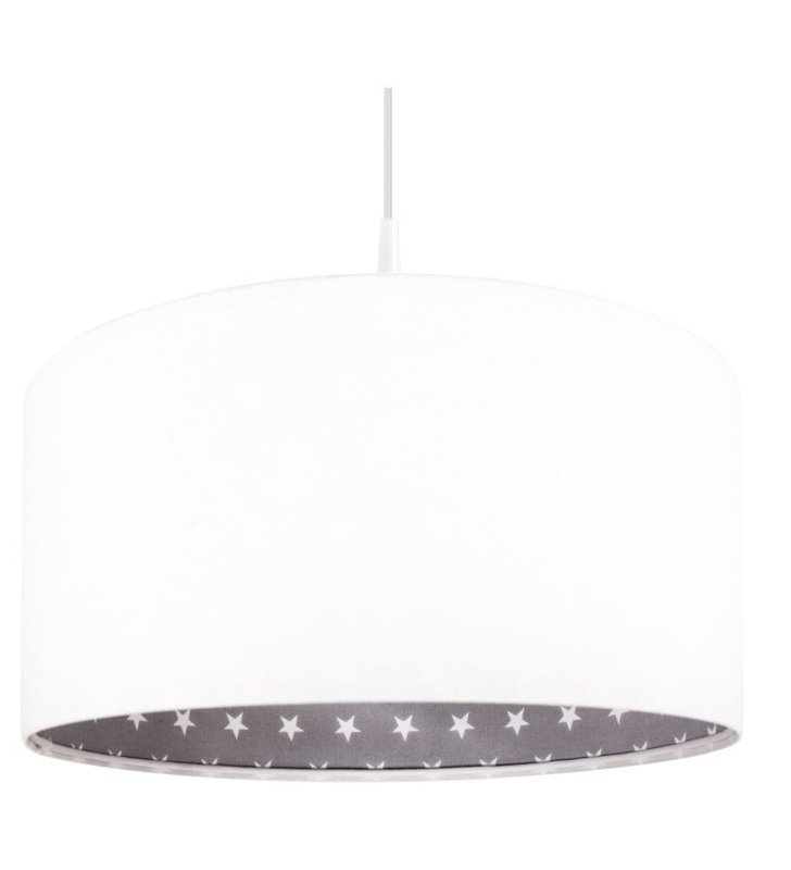 Biała welurowa lampa wisząca Śnieżka od wewnątrz szara tkanina w białe gwiazdki