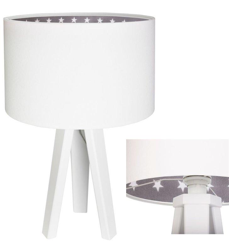 Biała dziecięca lampa stołowa Śnieżka wnętrze abażura szare w białe gwiazdki