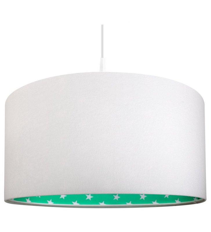 Biała welurowa lampa wisząca Bella abażur od środka w kolorze miętowym w białe gwiazdki do pokoju dziecka do sypialni salonu