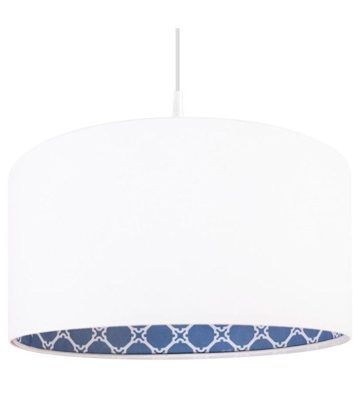 Lampa wisząca Anastazja biała weluru wnętrze niebieskie do salonu sypialni jadalni