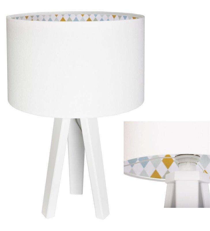 Dziecięca lampa stołowa nocna w kolorze białym Sofija wnętrze abażura w romby