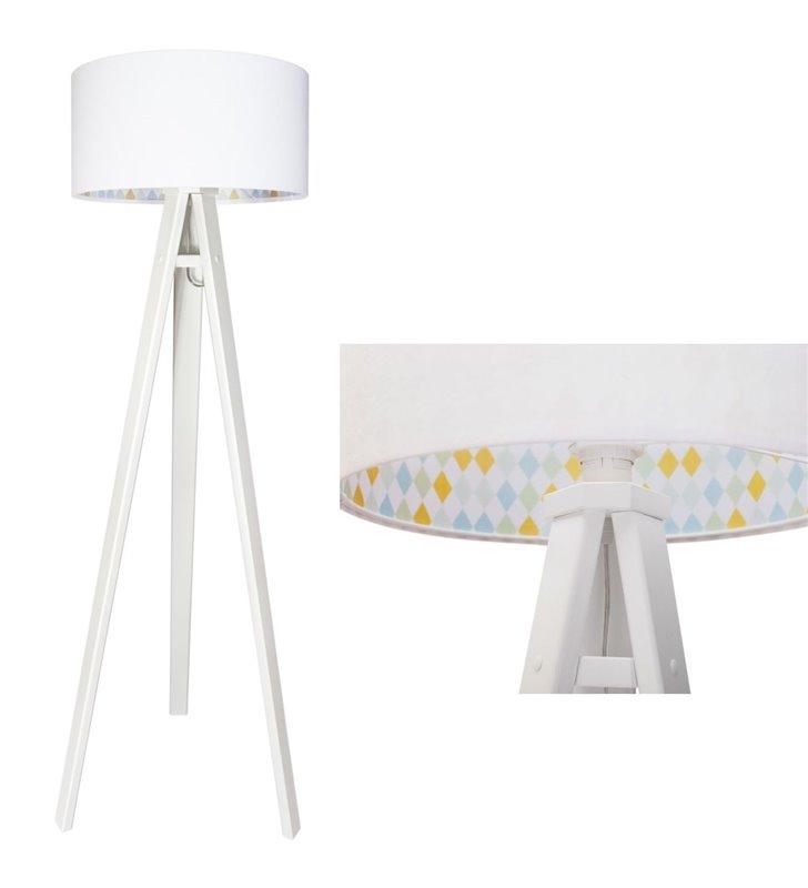 Lampa podłogowa do pokoju dziecka Sofija biała wewnątrz welurowego abażura kolorowe romby