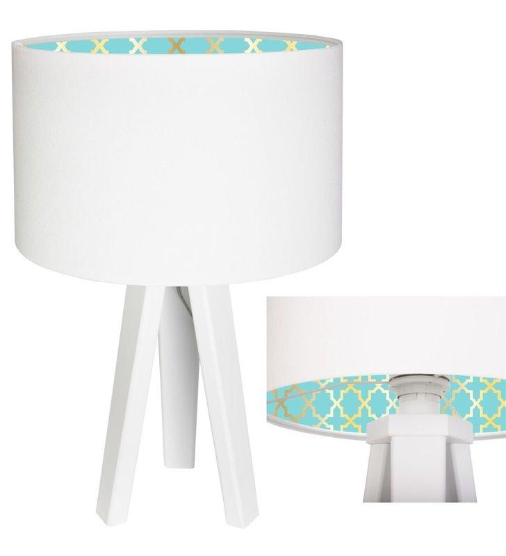 Lampa stołowa Tiana biała abażur welurowy z kolorowym eleganckim nadrukiem od wewnątrz