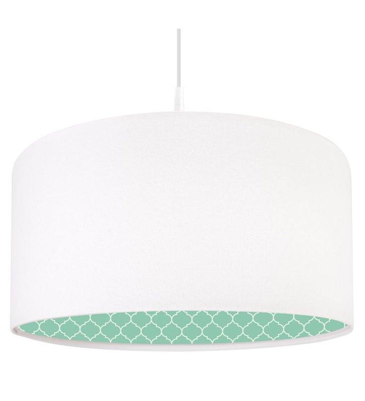Lampa wisząca Larysa biały welurowy abażur od wewnątrz nadruk w stylu marokańskim