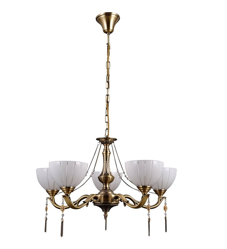 Żyrandol Baxio klasyczny 5 ramienny z dekoracyjnymi łańcuszkami