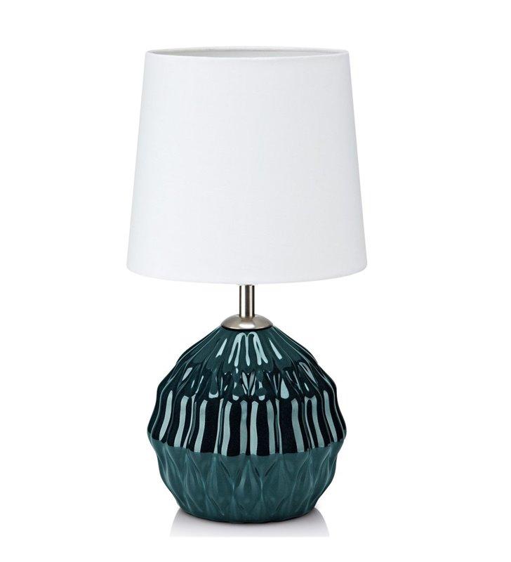 Lampa stołowa Lora biały abażur zielona ceramiczna dekoracyjna podstawa