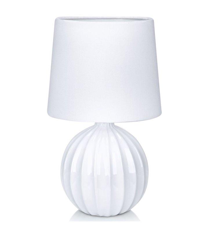 Melanie biała lampa stołowa z ceramiczną podstawą