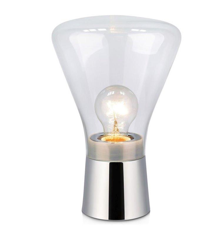Lampa stołowa Jack podstawa kolor chrom szklany bezbarwny klosz nowoczesna prosta forma