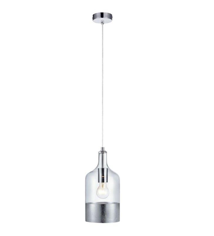 Lampa wisząca Bryant bezbarwny szklany klosz ze srebrną obwolutą