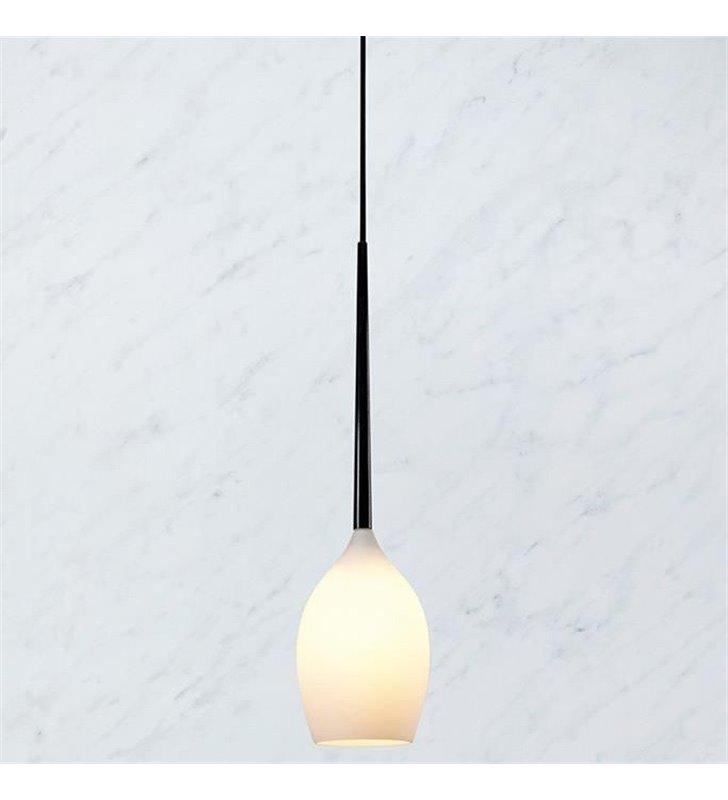 Lampa wisząca Salut 1 żarówka 40W czarna biały szklany klosz do salonu sypialni jadalni kuchni nad stół