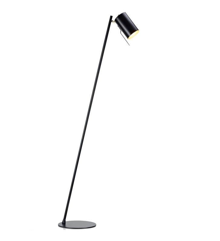 Lampa podłogowa Carrie czarna ze złotymi detalami styl nowoczesny przełącznik na kloszu