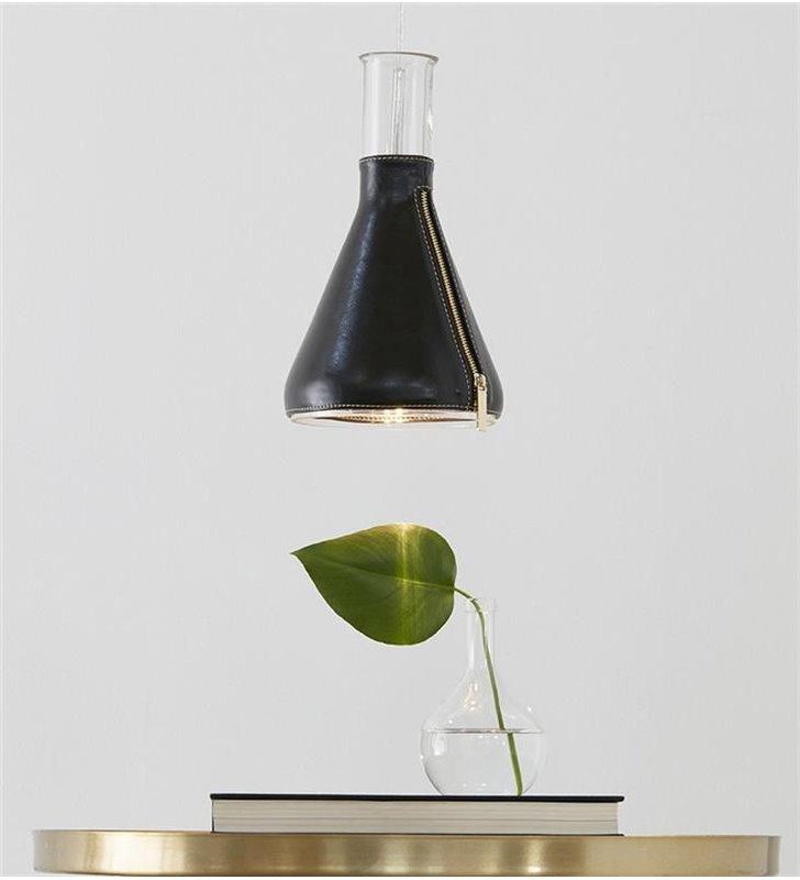 Designerska nowoczesna lampa wisząca Zip klosz szklany skórzany