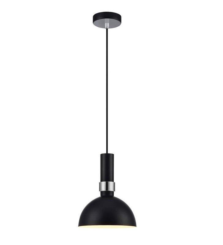 Szwedzka lampa wisząca projektu Moniki Mulder Larry czarna z chromowanym wykończeniem- DOSTĘPNA OD RĘKI