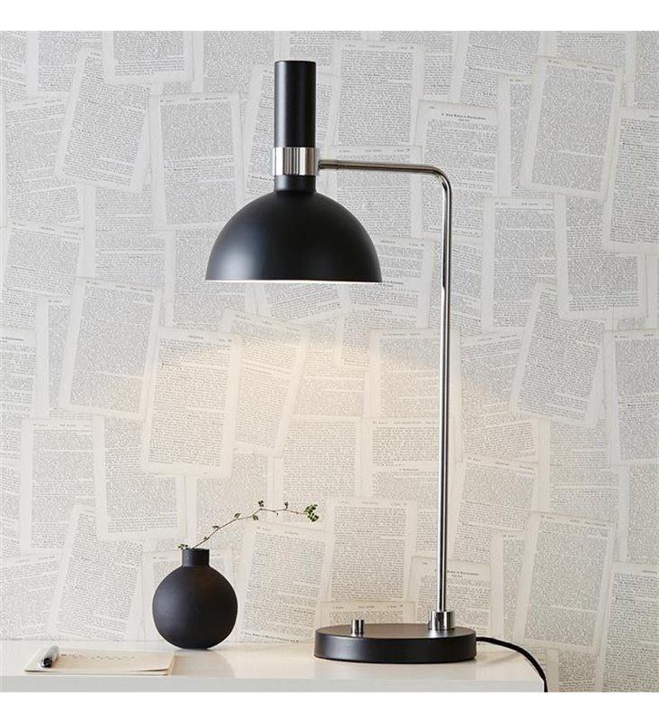 Lampa stołowa Larry metalowa czarna chrom ściemniacz