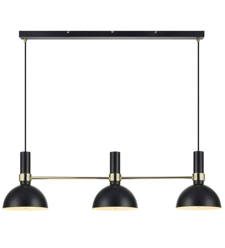 Lampa wisząca Larry potrójna czarna ze złotym wykończeniem idealna nad stół do jadalni kuchni salonu sypialni